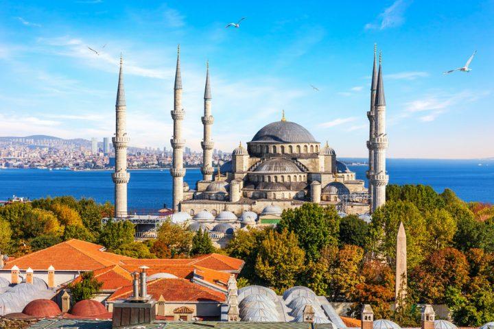 Vue sur la Mosquée Bleu à Istanbul, Turquie
